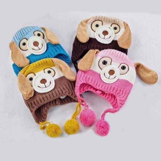 Animal Dog Shaped Crochet Baby Hats Caps Kids Boy Girl Winter Caps for Children