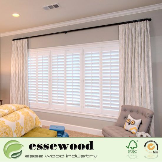 Movable Wooden Shutter Windows Interior Plantation Shutters For Bedroom Large Window