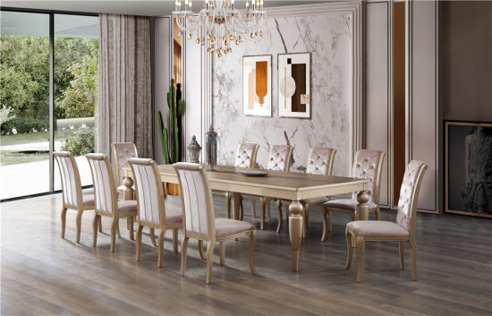 Dining Room Furniture Golden Color Luxury Style Dining Table And Dining Chair Dining Sets China Dining Furniture Dining Room Sets Made In China Com