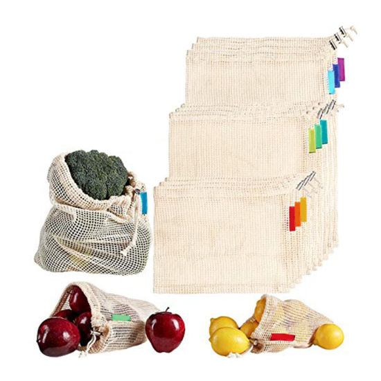 Wholesale Eco-Frindly Cotton Mesh Reusable Grocery Bags Net Shopping Produce Bags