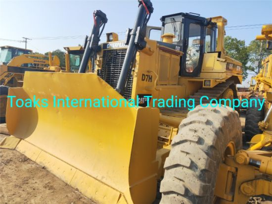 Used High Quality Road Construction Motor Grader Cat D7h, Caterpillar Effective Bulldozer D7h on Promotion with Free Spare Parts Plus One Year Warranty.