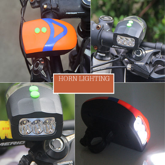New Bike Bicycle Lamp LED Head Light Front Light with Horn Bell Headlight Lamps