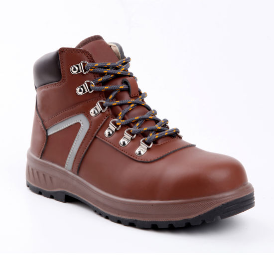 Dark Brown Leather Safety Boots Waterproof Safety Shoes