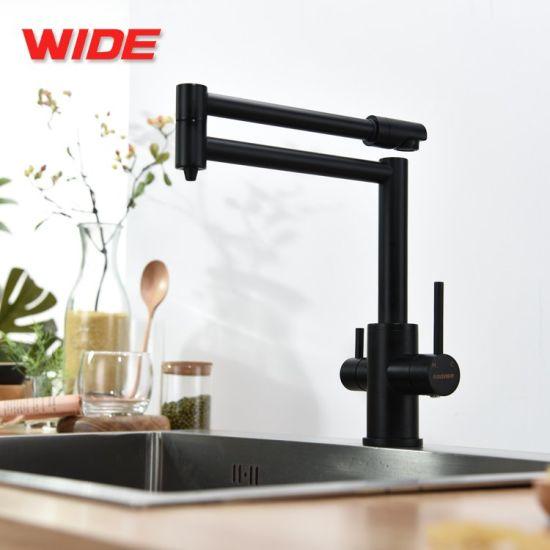 Factory Price Dual Handles Matte Black Kitchen Faucet 3 Way Drinking Water Sink Mixer