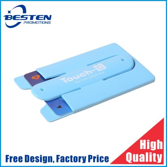 Silicone Cell Phone Stand Wallet 3m Sticker Smart Wallet Mobile Card Holder for All Smartphones