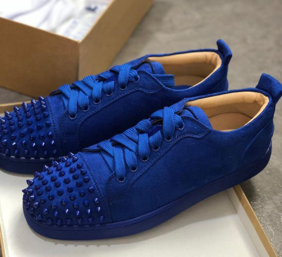 53ca163790f 2019 Luxury Sneaker Studded Spikes Men Trainers Red Bottom Shoes Top  Quality Grey New Designer Brand Flats 100% Genuine Leather for Us 5-12
