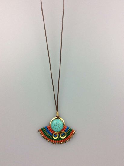 Ladies Polyester Cord Turquoise Pendant Necklace, Boho Necklace Fashion Accessory pictures & photos