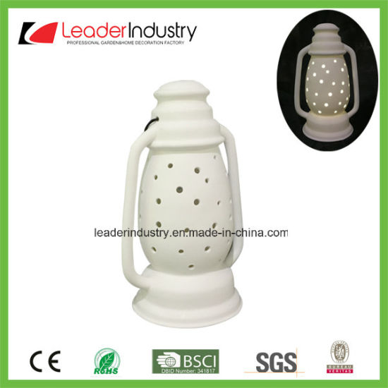 New Design White Ceramic Candle Holder with LED Color Changing for Christmas Ornament pictures & photos