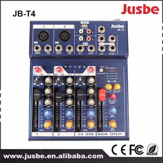 4 Channel DJ Mixer Controller / Audio Sound Mixer / Mixing Console