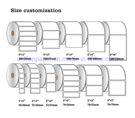 Customized Direct Thermal Label Roll and Thermal Transfer Label Sticker for Zebra Printer