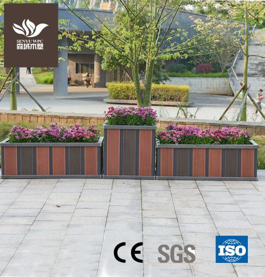 Outdoor Planter Box/ WPC Material Aluminum Large Flower Pot for Garden