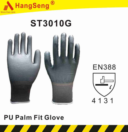 Polyurethane (PU) Palm Fit Safety Work Glove (ST3010G) pictures & photos