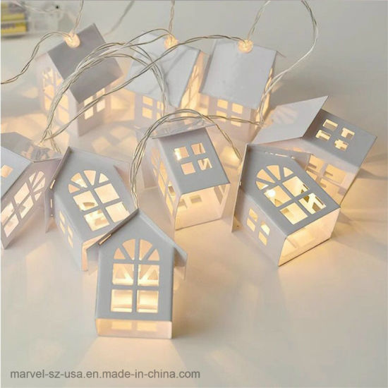 1.5m 10LED Party Holiday Decorations Garland Wood House String LED