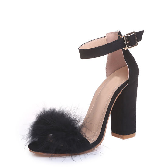 8924eb06343 China Womens Elegant POM POM Ankle Strap Block Heel Sandals Shoes ...