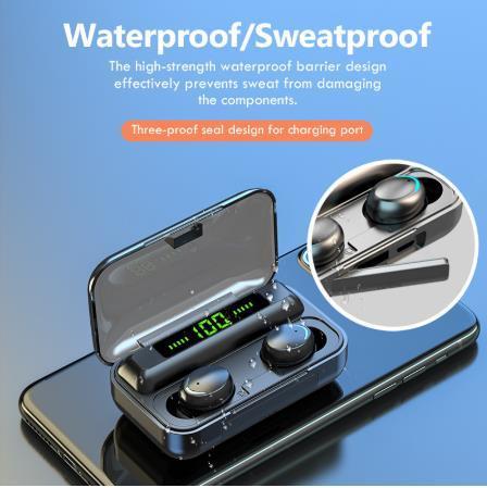 Oringinal F9-V5.0 Bluetooth 5.0 Earphones Tws Fingerprint Touch Headset HiFi Stereo in-Ear Earbuds Wireless Headphone for Sport