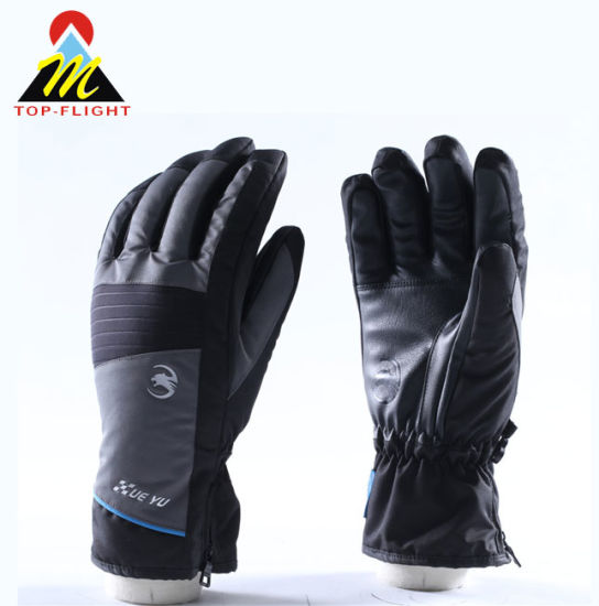 Skiing Gloves / Waterproof Windproof Warmest Winter Snow Snowboard Snowmobile Ski Sports Gloves with Zipper Wrist Leashes