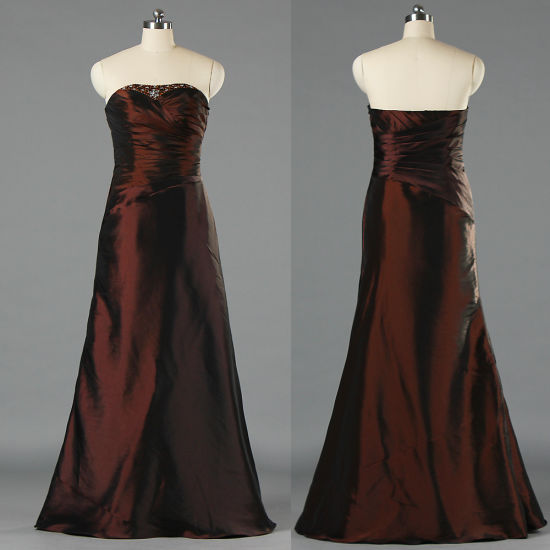 2c8d1cd00e26 China Wholesale Ladies Strapless Long Brown Taffeta Evening Dresses ...