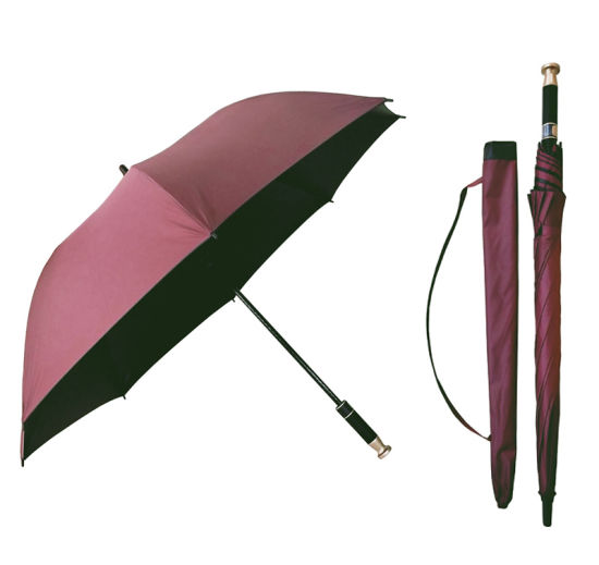 Promotional Pongee with Black Coated Fabric Windproof Golf Umbrella