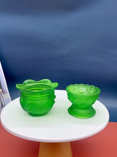 Manufacturers Wholesale Green Lotus Candlestick Ornaments Glass Candlestick Butter Lamp Household Ornaments, Glass Craft