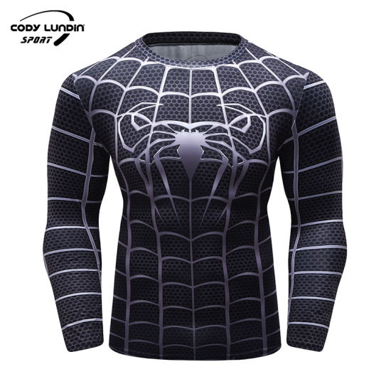 Compression Polyester Spandex Logo Style Men Long Sleeves Protection Rash Guard