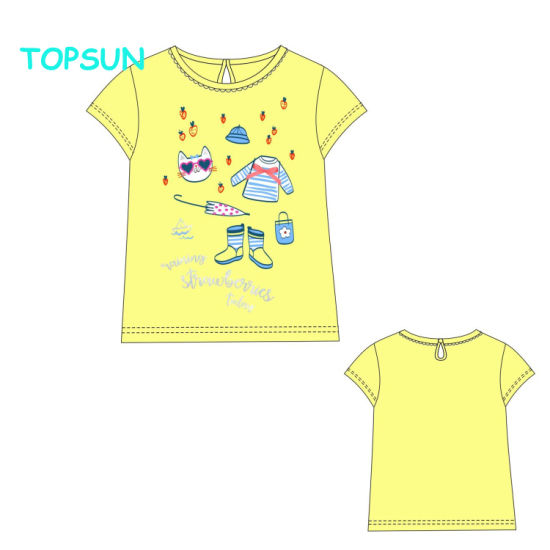 Summer Girls Cotton Printed T-Shirt Bbay Short Sleeve knitted Clothes pictures & photos