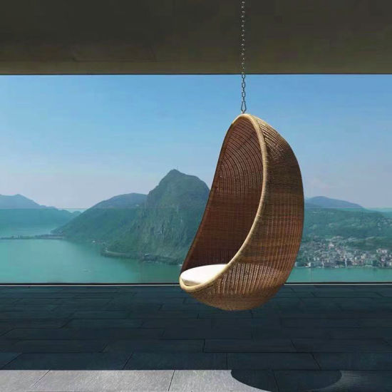 Hotel Furniture Rattan Wicker Swing Chair Modern Patio Hanging Chair Chaise Lounge Outdoor Garden Furniture