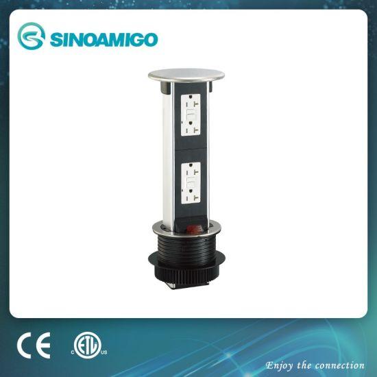 Sinoamigo Black Resin Top Pop-up Table Socket Outlet