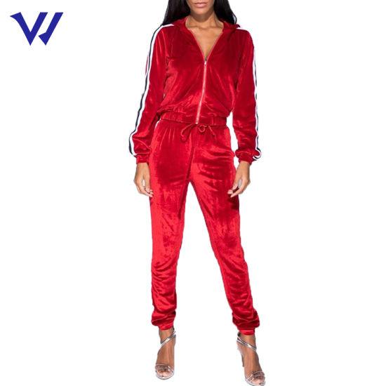 Hot Sale Red Velour Tracksuit Wholesale Blank Velvet Track Suit