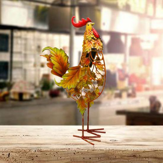 Metal Iron Rooster Figurine LED Solar Lights