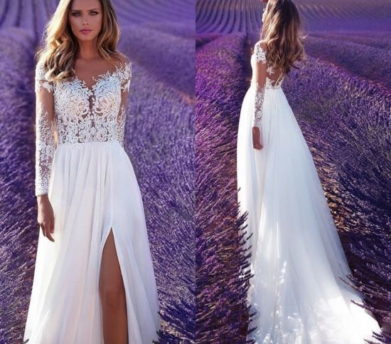 China Beach Wedding Dress Split Lace Chiffon Boho Bridal Gowns 2020 Lb184 China Bridal Dresses And Wedding Ball Gowns Price,Best Wedding Dress Designers 2020