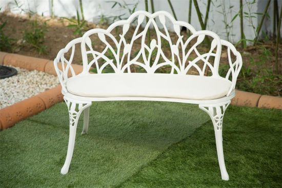 China White Garden Bench Cast Aluminum, White Cast Aluminium Garden Bench