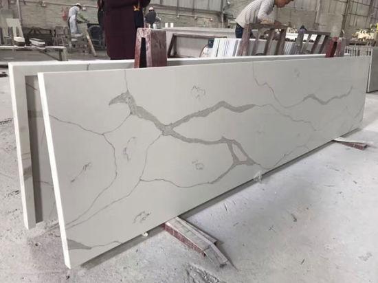 Calacatta Quartz Stone Kitchen Countertop with Various Edge Profiles