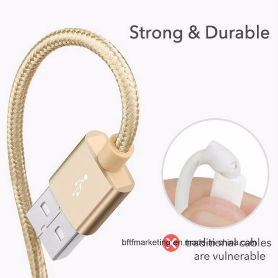 Nylon Braided Micro Andriod USB Cable with Gold-Electroplated Connector pictures & photos