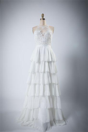New Ruffle White Emblished Wedding Dress