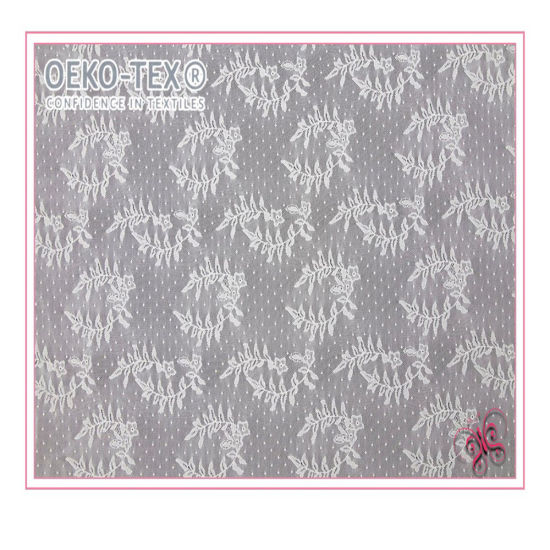 Leaf Pattern Lace Fabric Oeko-Tex Standard 100 Supplier