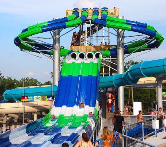 Aqua Park Equipment Octopus 4-Lane Competition Fiberglass Water Slide (WS-060)