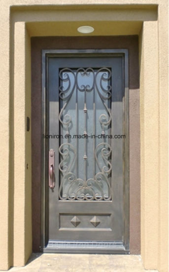 China Custom Wrought Iron Front Security Doors With Tempered Glass