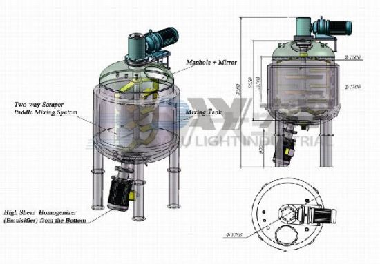 Stainless Steel vacuum Emulsifying Homogenizing Mixing Tank pictures & photos
