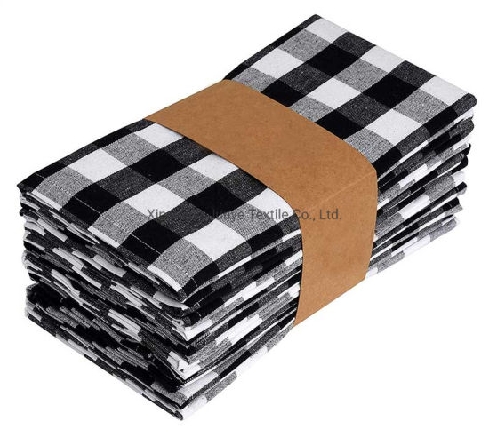 Wholesale Placemat Dining Table Rug Cotton Plaid Gray 20X20 Inch Cloth Napkin for Party