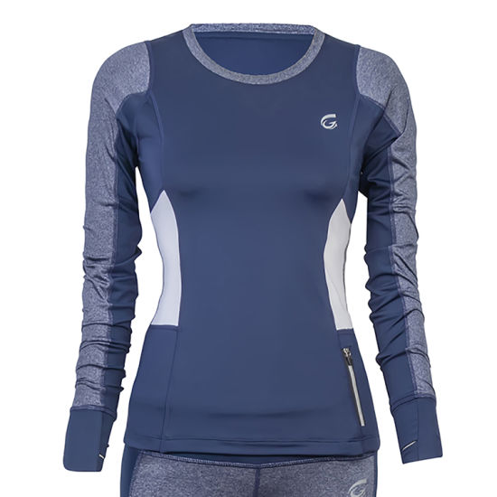 Wholesale Custom Fashion Navy White Polyester/Spandex Reflective Zip Women's T-Shirt