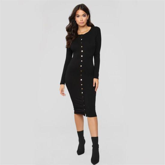 Autumn Winter Women Dress Fashion Button Dress Long Sleeve Knitted Dress