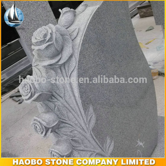 Grey Granite Rose Carved Monument Engraved Headstone