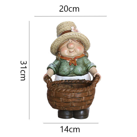 Factory Wholesales Polyresin Sculpture Resin Gnome Plant Pot Craft for Decoration