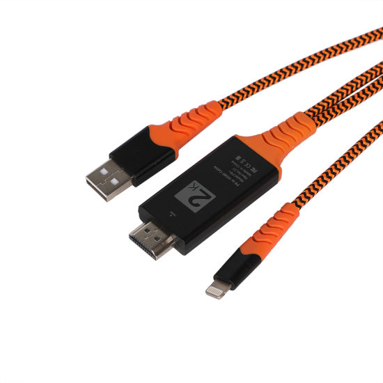 2 in 1 8 Pin USB Charging Cable USB HDMI Cable for iPhone HDTV Cable