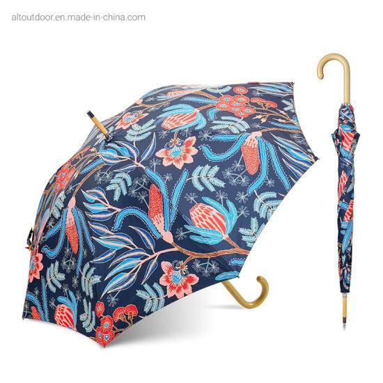 Top Umbrella Flower Print Double Side Rain Stick Umbrellas for Sale