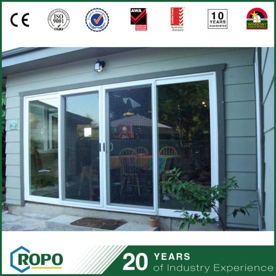 China 3 Panel Upvc Energy Efficient Sliding Glass Doors China Upvc