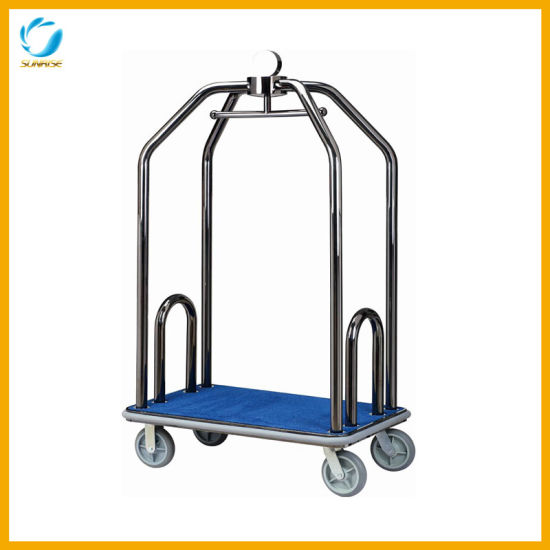 New Arrival Birdcage Stainless Steel Luggage Cart for Hotel Lobby