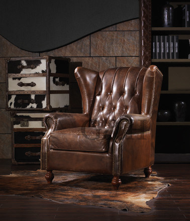New Classical European American Leather Sofa Chair Furniture/ Vintage  Antique Finish Living Room Sofa/Tiger Chair