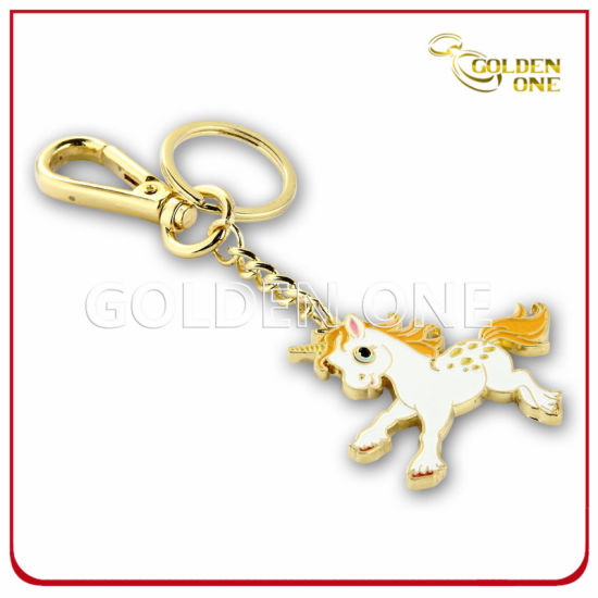 Cute Design Horse Gold Plated Metal Promotion Key Ring