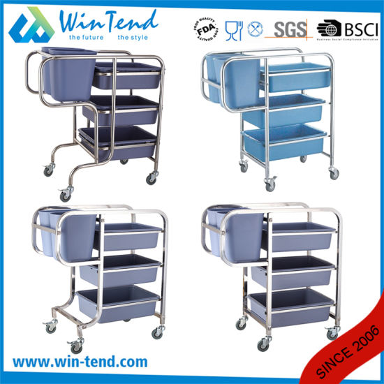 Square Tube Cleaning Clearing Bent Legs Garbage Trolley with Bin and Basket pictures & photos
